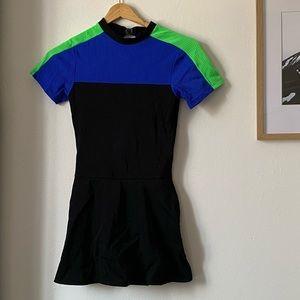 Black Colour-block Figure Skating Dress